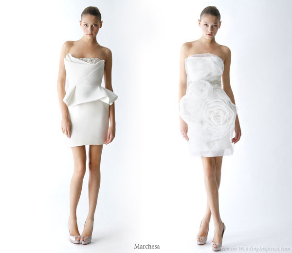 Short white wedding dresses from Marchesa - left bustier top is similar to the one Kate Hudson wore to the Golden Globes 2010