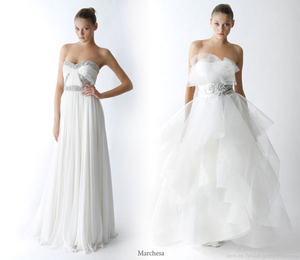 Sleek and voluminous - a sheath wedding gown and a full a-line dress from Marchesa