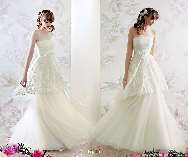 Papilio Russia bridal collection 2010 Nymph - strapless tier wedding dress