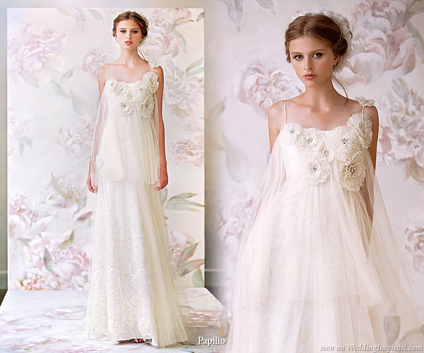 Pretty spaghetti strap romantic, sweet princess bridal gown