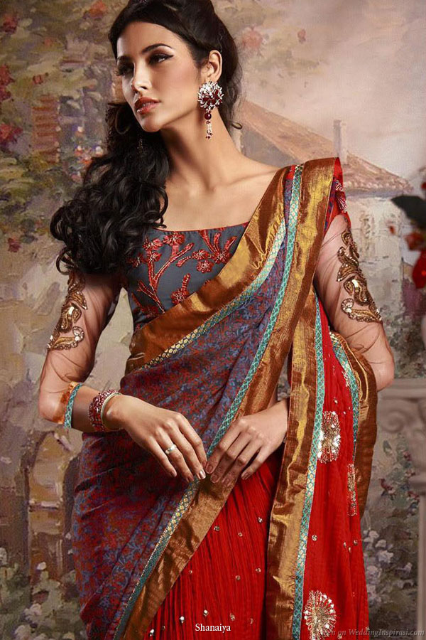 Regal tones - Deep jewel colors on a beautiful bridal saree from Shanaiya 2010 collection