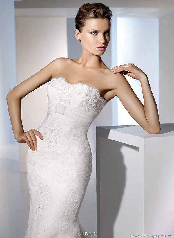 Strapless lace wedding gown with sash from San Patrick 2010 bridal collection