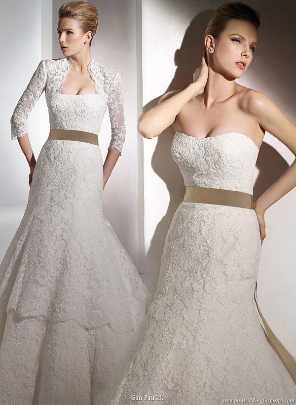 San patrick 2010 bridal collection wedding inspirasi for Cream colored lace wedding dresses