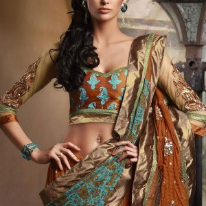 Metallic earth - Gold, copper, brown and turquoise modern saree from Shanaiya bridal