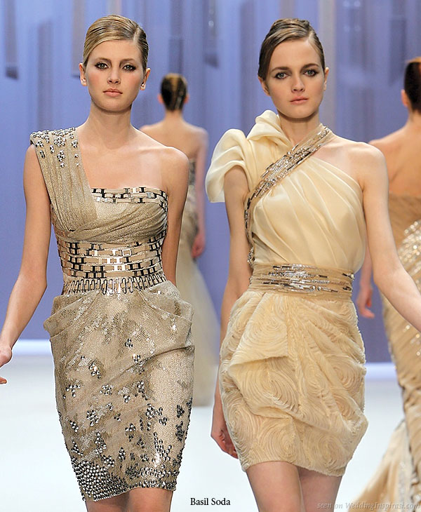 Sparkle and shine softly - Short couture dresses with asymmetric necklines