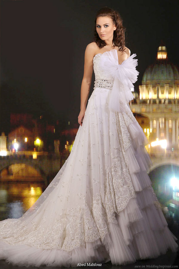 Beautiful strapless wedding dress from Abed Mahfouz bridal 2010 collection