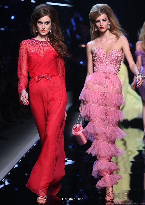 Christian Dior runway show Resort 2011 Shanghai - red long sleeve and pink ruffle dress