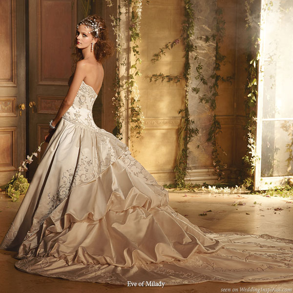 Amalia Carrara wedding gown with pickup bustle skirt by Eve of Milady bridals