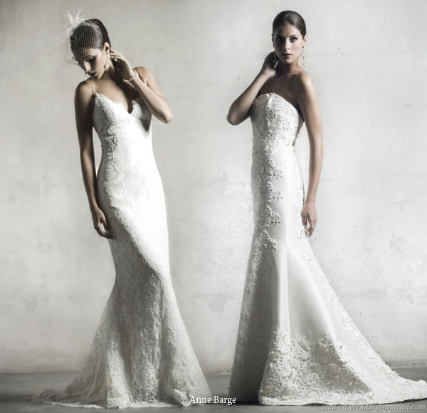 We never tire of airy Grecian style wedding gowns like the one on the left