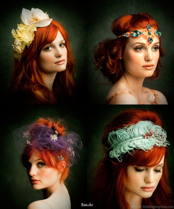 Ban.do black label hair accessories - old hollywood glamour flower and feather headbands suitable for weddings and parties