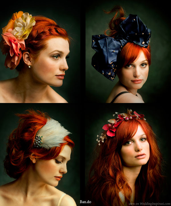 Ban.do black label couture hair accessories - veils, colorful flower and feathered headbands suitable for weddings and special occasions