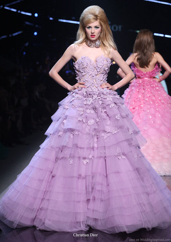 john galliano wedding gown. Purple ruffle strapless gown