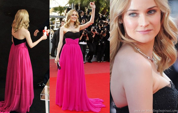 Diane Kruger looked lovely in a hot pink and black strapless gown from Jason