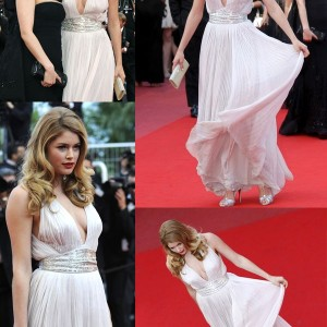 Dutch Model Doutzen Kroes In A White Grecian Dress Designed By Roberto Cavalli At Cannes 2010 Wedding Dresses