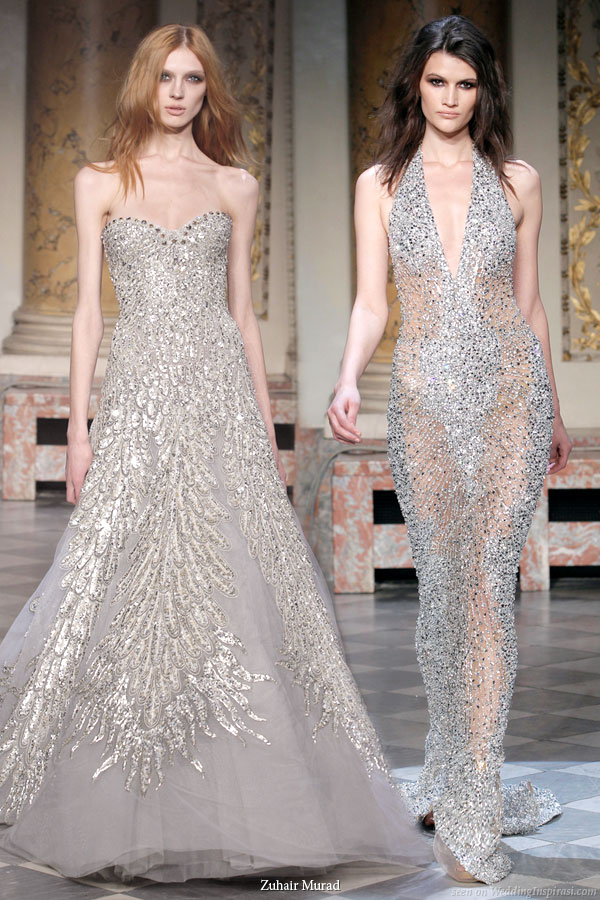 Silver evening dresses by lebanese fashion designer Zuhair Murad 2010 couture collection