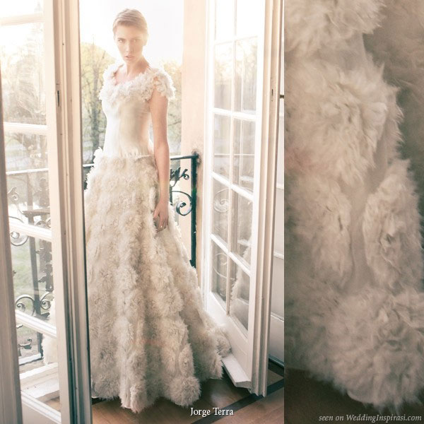 Pink Wedding Dress Feathers : Jorge terra bridal collection wedding inspirasi