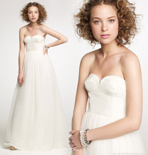 From J.Crew autumn winter bridal collection catalog - simple, elegant strapless wedding gown