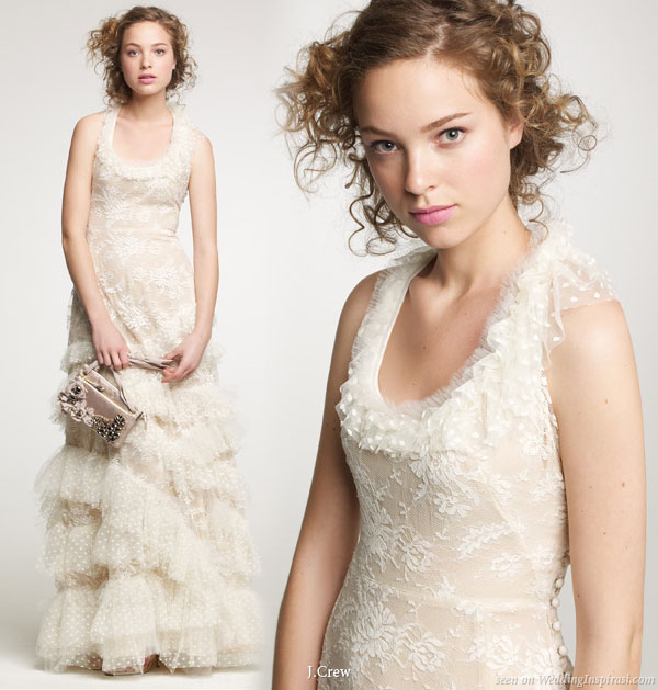 Romantic lace vintage off-white or ivory color wedding dress from J.Crew