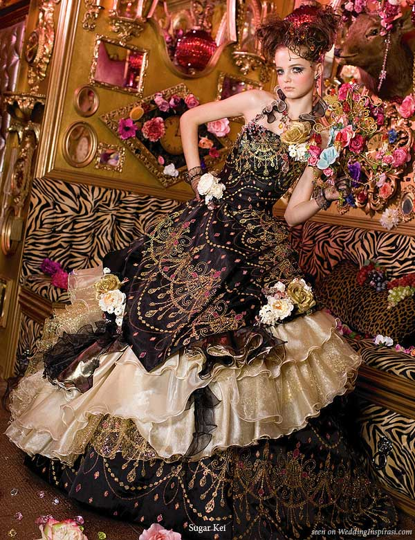 Jewel Candy wedding theme - a deep dark chocolate brown and coppery gold wedding dress by Sugar Kei