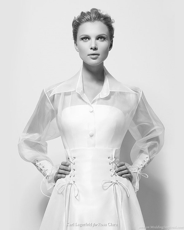 Karl Lagerfeld bridal for Rosa Clara 2010 - Xiomara wedding dress with over shirt and laced up sleeves and waist