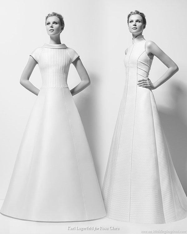 Structured wedding gowns designed by Karl Lagerfeld for Rosa Clara 2010 bridal collection