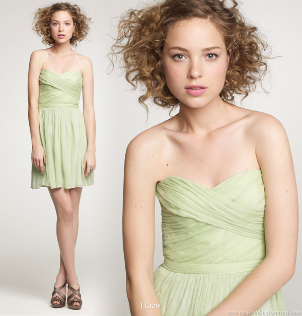 Light yellow-green short strapless dress for parties or weddings