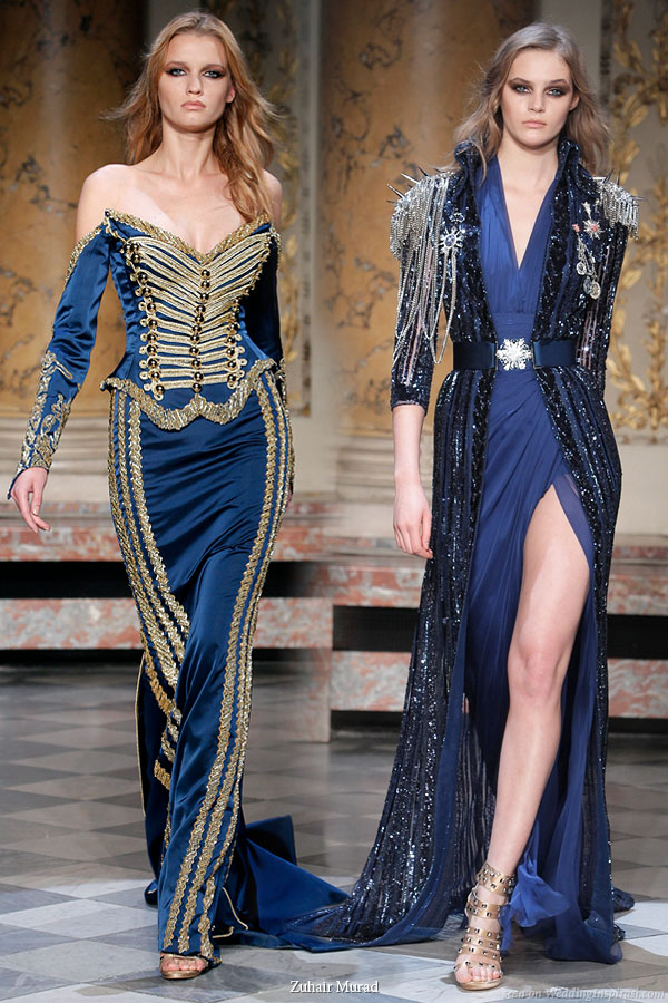 Officer's Muse Spring Summer 2010 Zuhair Murad military inspired couture collection - blue evening gowns on the runway