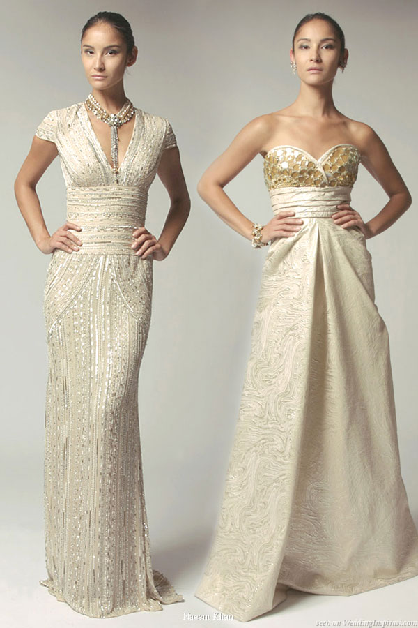 Naeem Khan Resort 2010 collection - off white or ivory long gowns as stylish and unique wedding dresses
