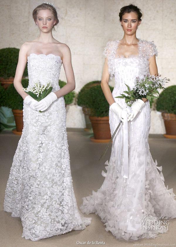 Oscar de la Renta bridal collection Spring 2011  - White embroidered silk organza strapless gown and bolero, white lace slingback