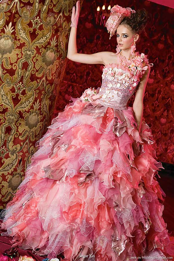 Pink ruffle wedding gown alal Barbie girl from Japanese based Sugar Kei