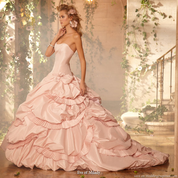 Pink wedding gown with ballgown silhouette, strapless with drop waist from Eve of Milady bridals