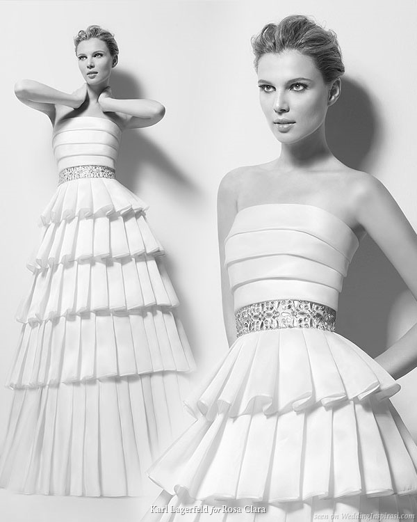 Rosa Clara fashion designer bridal collection Ximena ruffle gown by Karl Lagerfeld