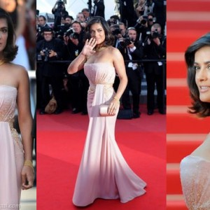 Salma Hayek in pink and gold Gucci Premiere at the Cannes Film Festival red carpet 2010