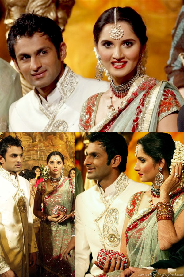 Sania Mirza, tennis player from India and Shoaib Malik, Pakistani cricketeer at celebration at their wedding reception ceremony in Pakistan