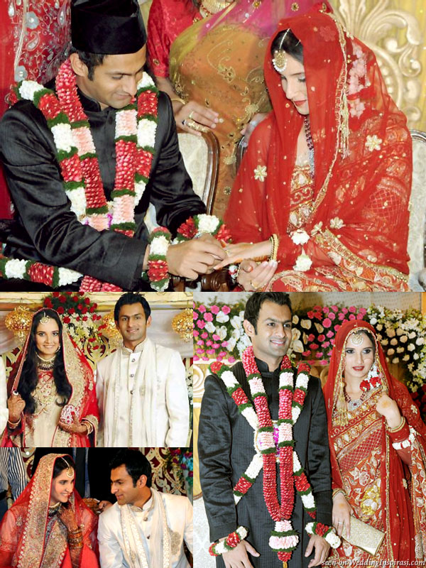 Pakistani cricket player Shoaib Malik and Indian tennis star Sania Mirza, wearing a red sari, at their nikah wedding solemnization ceremony at Taj Krishna Hotel, Hyderabad, India, plus reception photos