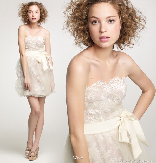 Short and sweet lace dress with cream sash bowh suitable for parties and wedding ceremonies