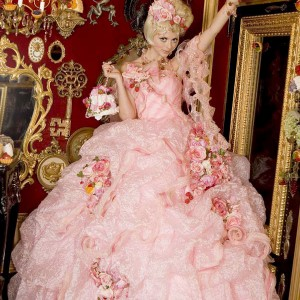 Sweet kawaii western wedding gown in pink with flowers attached by Sugar Kei
