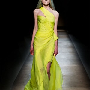 Valentino Haute Couture Spring Summer 2010 collection - neon lime green dress as worn by Sarah Jessica Parker at the Sex and the City 2 premiere