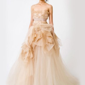 Peach color strapless wedding dress from Vera Wang's Spring 2011 collection