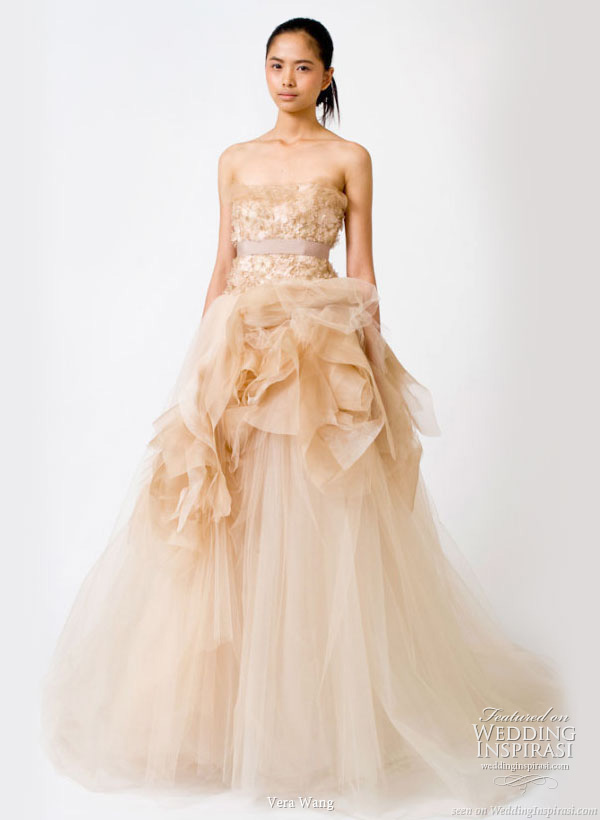 tony39s blog peach color strapless wedding dress from vera With peach wedding dress
