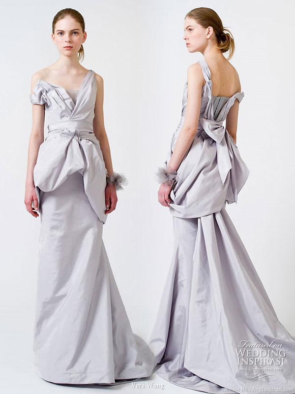 2011 Vera Wang Wedding Dress - light blue-gray asymmetric gown with train