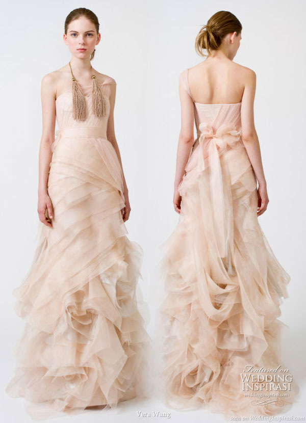 Peach rose nude blush color wedding gown from Vera Wang Spring 2011 bridal dress collection
