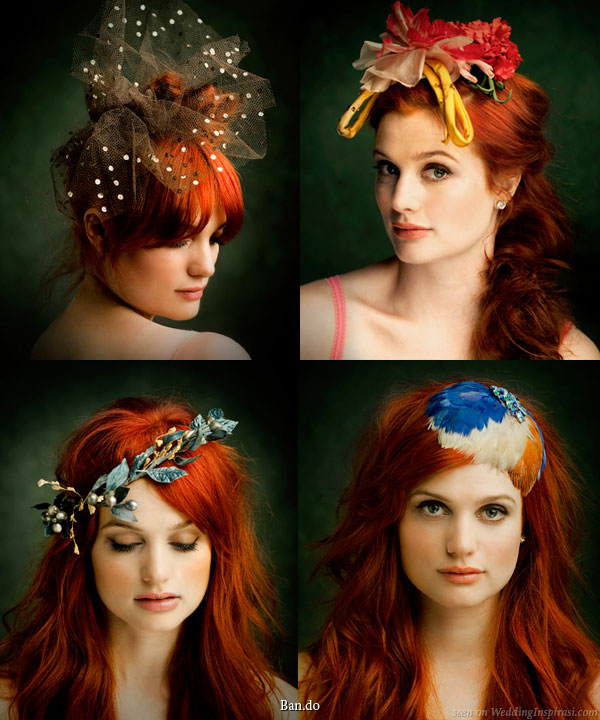 Colorful bridal hair accessories - polka dot veil, hair wreath garland, feather fascinator and other hair accessories from Ban.do Black label