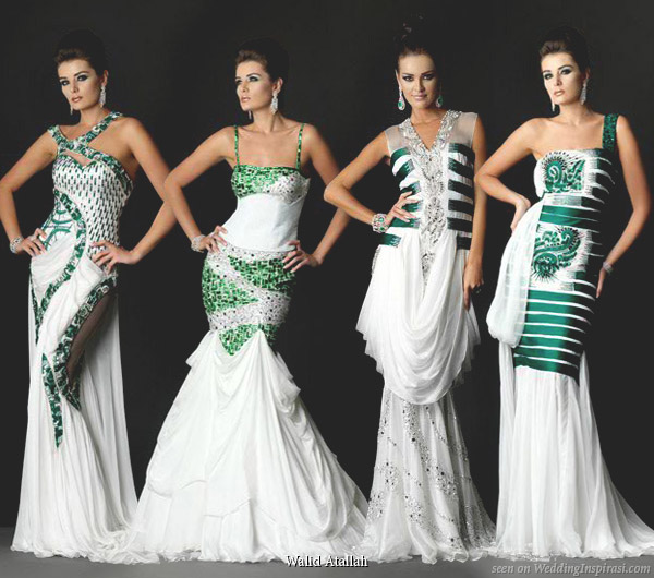 White wedding dress with emerald green sequin accents by Walid Atallah