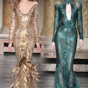 Beautiful couture collection by Zuhair Murad - off-shoulder gold feather dress and deep jewel green halter neck keyhole gown