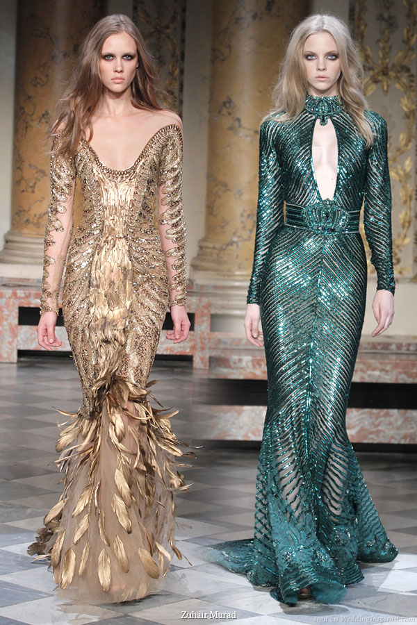 Beautiful Couture Collection By Zuhair Murad Off Shoulder Gold Feather Dress And Deep Jewel