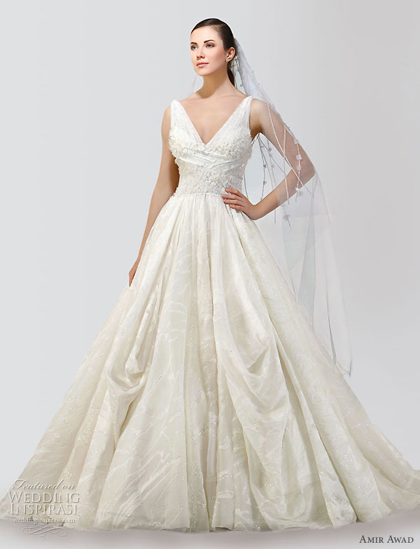 Amir Awad 2010 bridal gown collection - v-neck wedding dress, worn with a veil