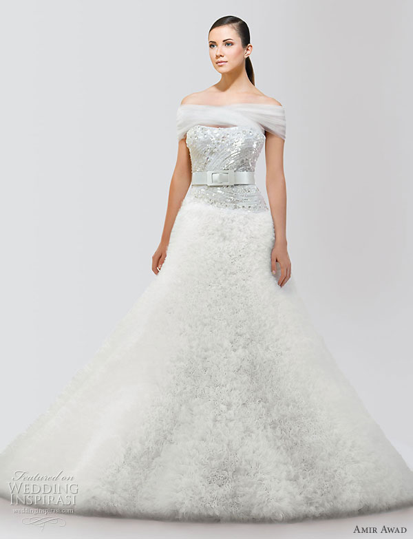 Lebanese fashion designer Amir Awad 2010 bridal gown collection - off-shoulder wedding dress with Swarovski crystal bodice