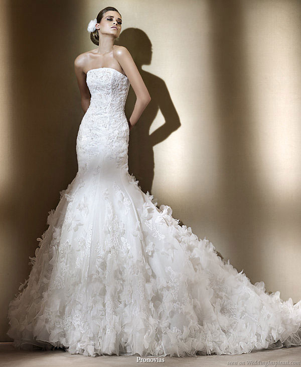 Pronovias 2011 Bridal Gown Collection - Formentera strapless  wedding dress with ruffle skirt