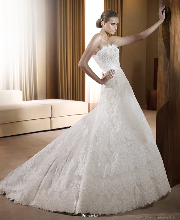 Pronovias 2011 Bridal Gown Collection - Fresno strapless lace  wedding dress